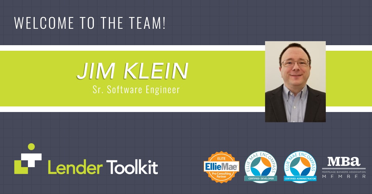 Lender Toolkit Welcomes Jim Klein!